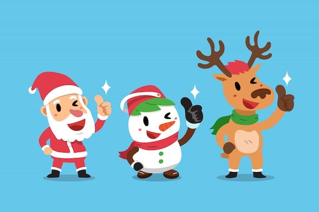 Karikaturweihnachtsmann und -freund der frohen weihnachten, die daumen bilden, up zeichen