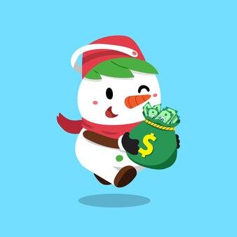 Karikaturweihnachtsschneemann mit geldbeutel