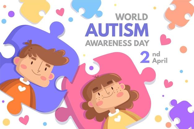 Karikaturwelt-autismus-bewusstseins-tagesillustration mit puzzleteilen