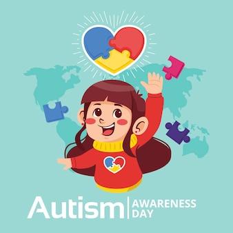 Karikaturwelt-autismus-bewusstseins-tagesillustration