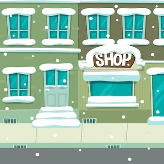 Karikaturwinterstadtstraßenhaus-shop-szenenhintergrund
