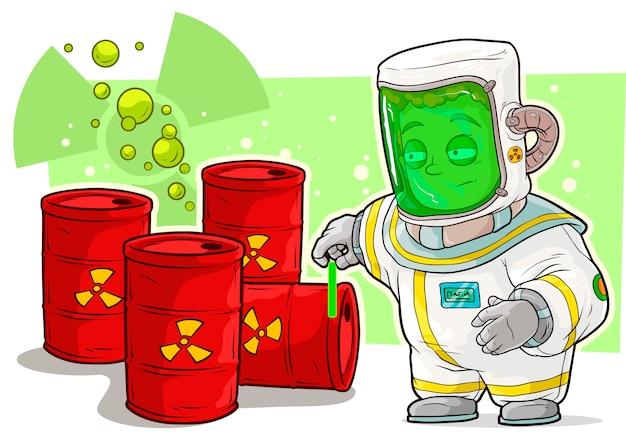 Karikaturwissenschaftler im schutzanzug mit uran