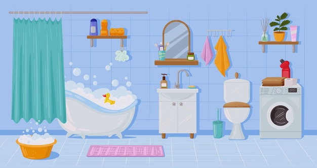 Karikaturwohnungsbadezimmerinnenraum, -badewanne und -waschbecken. toilette, waschmaschine, spiegel, badezimmer-innenelemente-vektor-illustration. moderner hauswaschraum