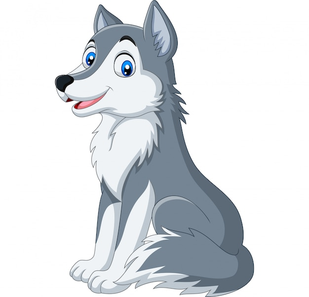 Karikaturwolf, der auf weißem hintergrund sitzt