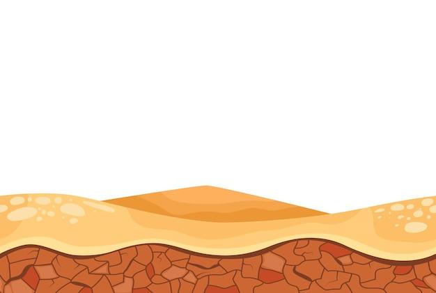 Karikaturwüstenrelieflandschaft für die illustration der spielbenutzeroberfläche
