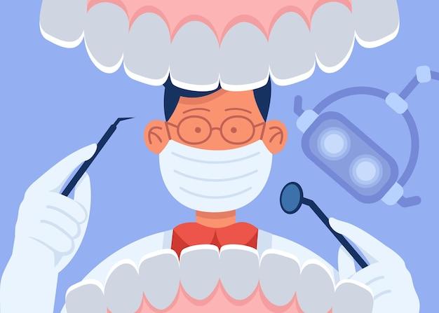 Karikaturzahnarzt in der maske, die den offenen mund des patienten untersucht