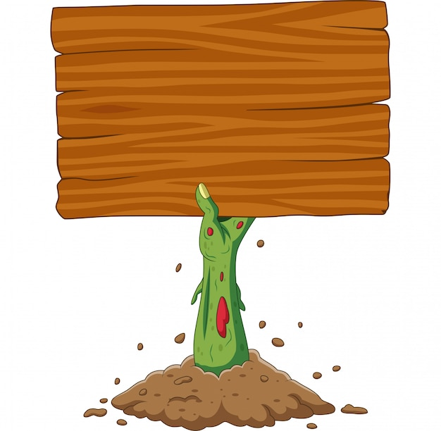 Karikaturzombie teilen aus dem boden aus, der leeres zeichen hält