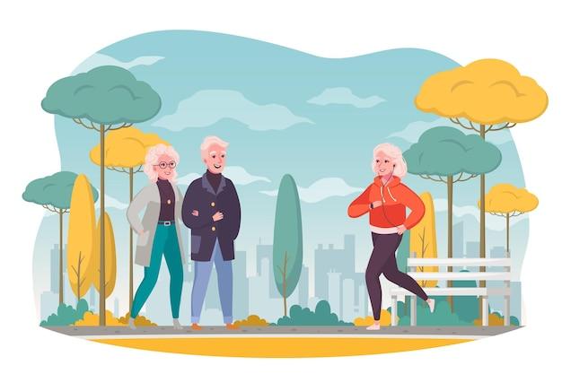 Karikaturzusammensetzung der älteren leute im freien mit der aktiven älteren frau des gehenden paares, die im herbstlichen stadtbild joggt