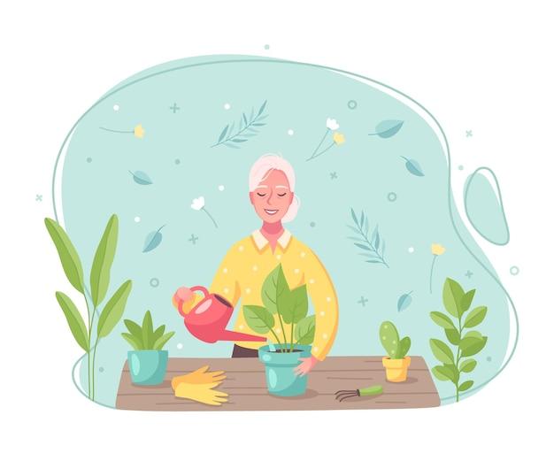 Karikaturzusammensetzung der hobby-zeitvertreibsaktivitäten mit der bewässerung des umtopfens der frau, die sich um pflanzen kümmert