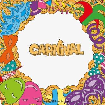 Karneval hintergrund in doodle-stil