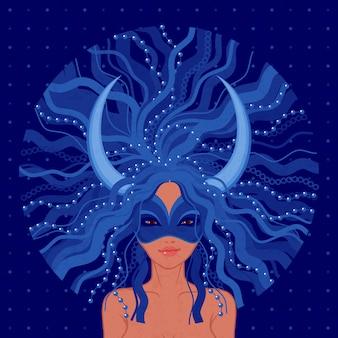 Karneval in venedig abbildung. junge frau, die blaue maske mit dekorativen hörnern trägt