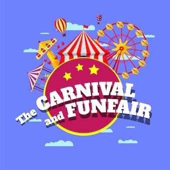 Karneval-kirmes-banner. vergnügungsparkzirkus, karussells, riesenrad und karussellattraktionen mit inschrift auf blauem wolkenhintergrund. kirmes-festival. vektor-illustration