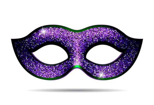 Karneval-maske isoliert auf weiss. lila funkelnde karnevalsmaske. vektor-illustration