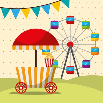 Karneval messe festival stand essen und riesenrad