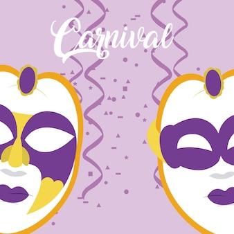 Karneval mit maske und konfetti
