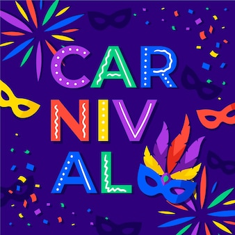 Karneval mit masken und konfetti im flachen design