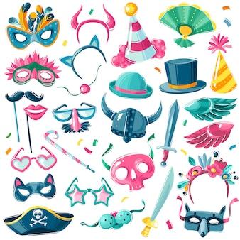 Karneval party inventar set. großer satz von karnevalsartikeln auf weißem hintergrund im illustrativen karikaturstil