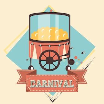 Karneval popcornshopikonenvektor-illustrationsdesign