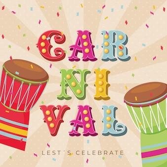 Karneval retro mit trommeln und luftschlangenplakat