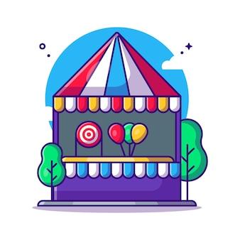 Karneval schießspiel stand cartoon illustration. vergnügungspark-symbol-konzept weiß isoliert. flacher cartoon-stil