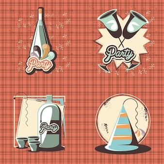 Karneval stellte sammlungsikonenvektor-illustrationsdesign ein