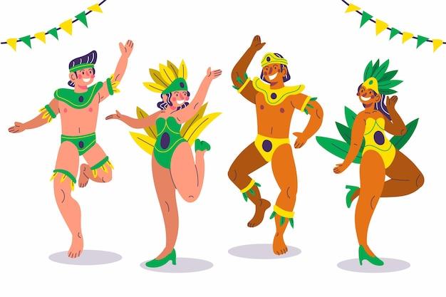 Karneval tänzer in kostümen gesetzt