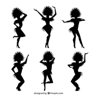 Karneval tänzer silhouetten