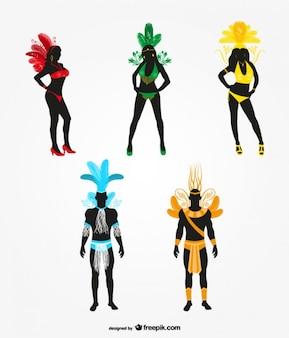 Karneval tänzerin silhouette