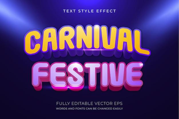 Karneval und festlicher 3d bearbeitbarer textstileffekt