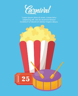 Karneval zirkus design mit popcorn und trommel