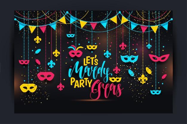 Karnevalikonen färbten rahmen mit einer maske
