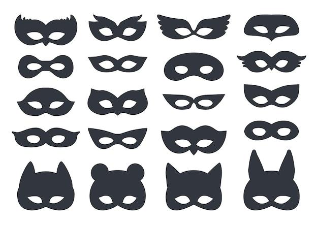 Karnevals-silhouette-maskenset