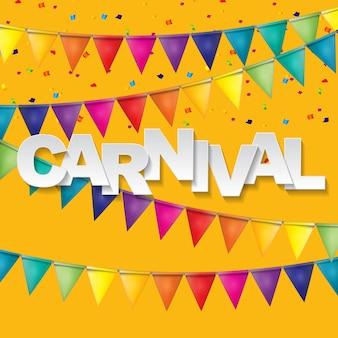 Karnevalsbanner mit flaggenfahnen und fliegenden luftballons. illustration