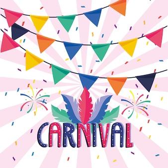 Karnevalsbeschriftung mit federn und feuerwerk