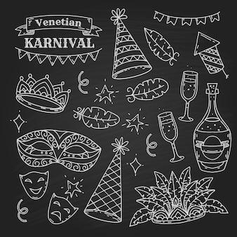 Karnevalselementsammlung im gekritzelstil auf schwarzem hintergrund, venezianische karnevalselemente