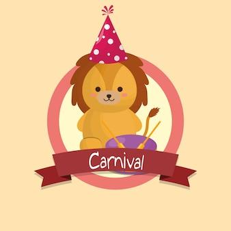 Karnevalsemblem mit niedlichen löwen