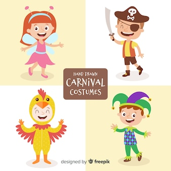 Karnevalsfiguren im kostüm