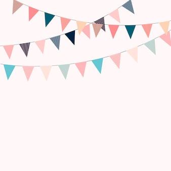 Karnevalsgirlande mit fahnen. dekorative bunte partywimpel für geburtstagsfeier, festival und angemessene dekoration.