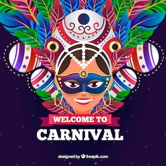 Karnevalshintergrund mit frau und bunten federn