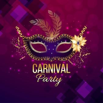 Karnevalshintergrund mit kreativer realistischer maske