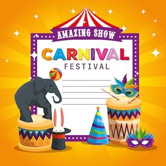 Karnevalskarte und -elefant, die mit ball und trommel spielen