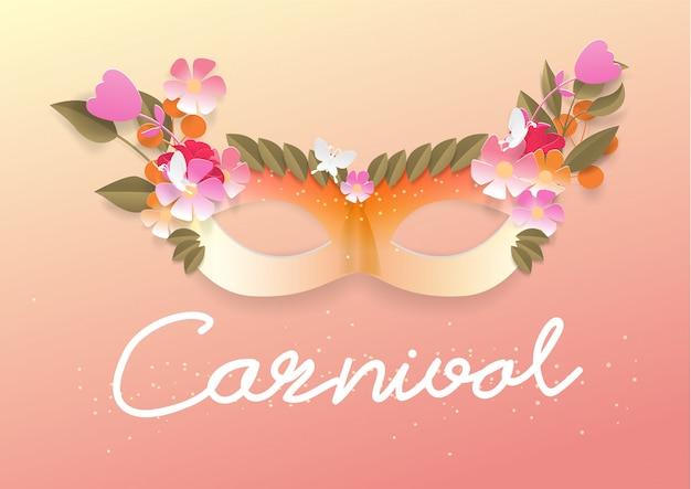Karnevalsmaske der blumenpapierschnittart