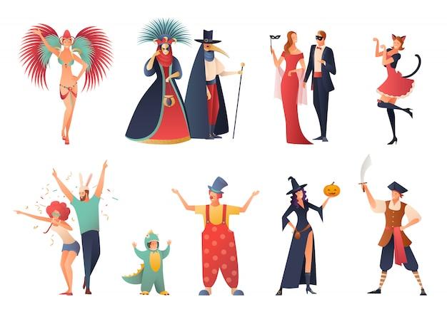 Karnevalsparty icons set