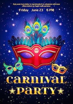 Karnevalsparty-plakat mit datum des ereignisses