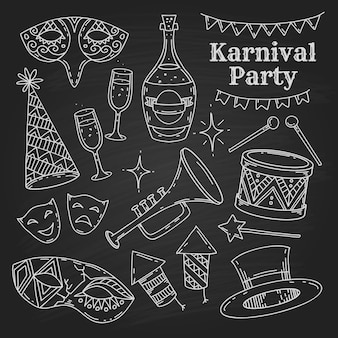 Karnevalsparty-symbole, die im gekritzelstil auf schwarzem hintergrund, karnevalselementsammlung gesetzt werden