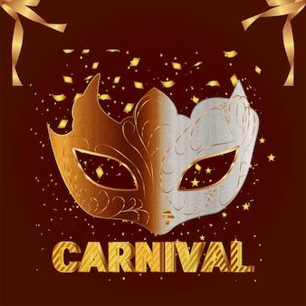 Karnevalspartyeinladungsgrußkarte mit vektorkreativer maske