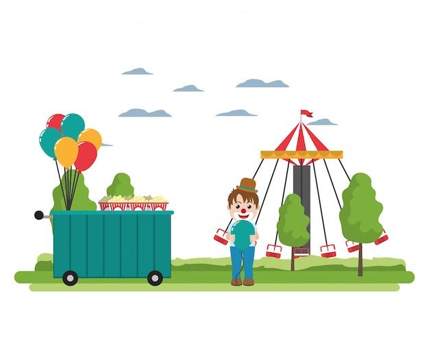 Karnevalsshopauto mit clownjungen und -spiel