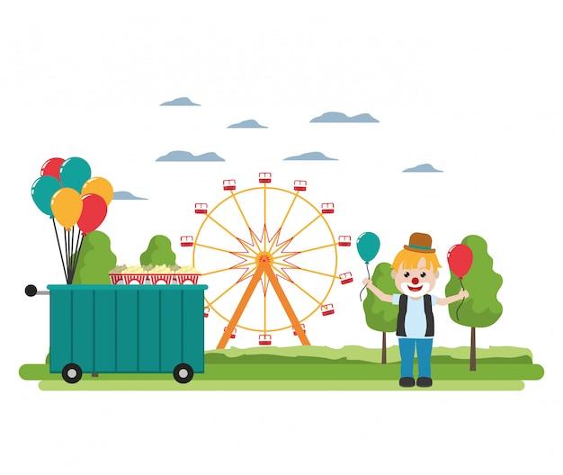 Karnevalsshopauto und clownjunge