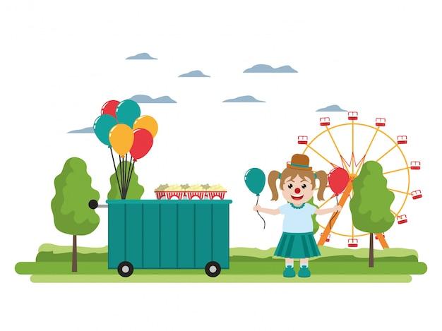 Karnevalsshopauto und clownmädchen