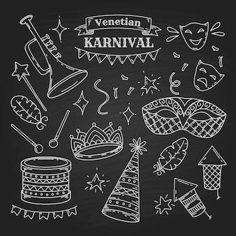 Karnevalssymbole im gekritzelstil auf schwarzem hintergrund, venezianische karnevalselemente